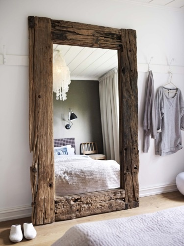 rustic wood mirror