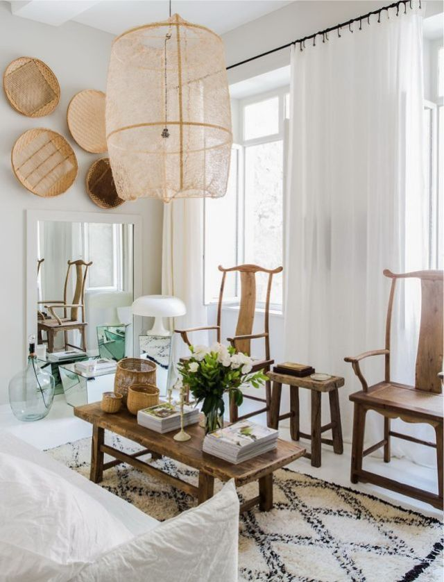 rug + rustic table