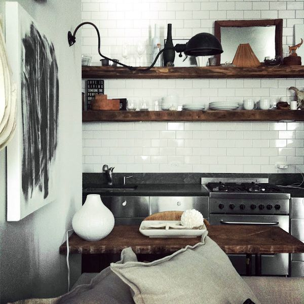 Kitchen With Black Tiles: Open Shelves + Subway Tile
