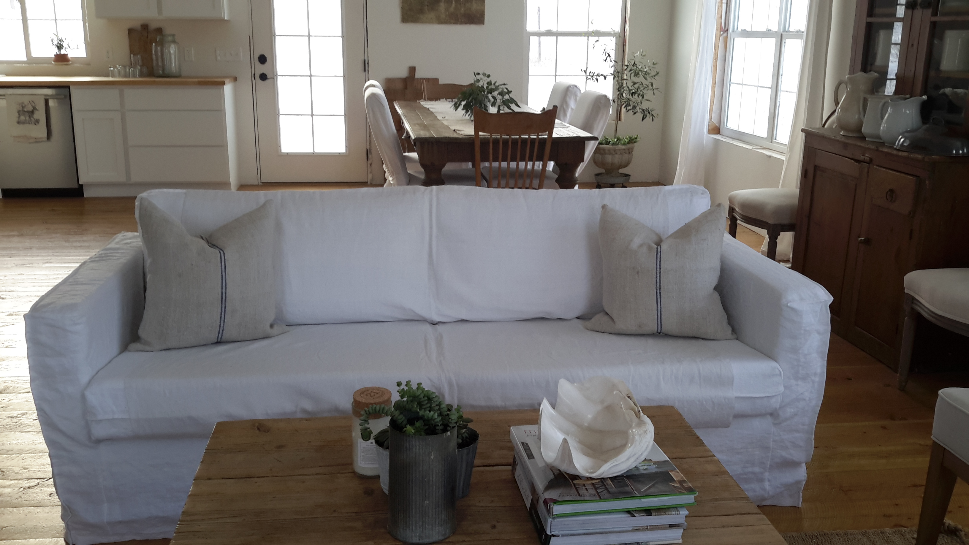 linen slipcovered sofa – French Grey