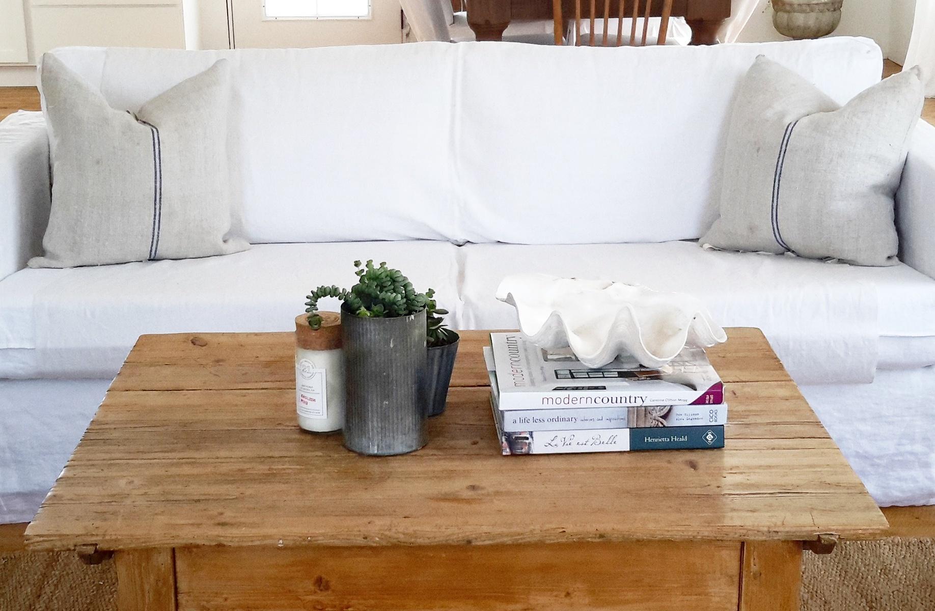 linen slipcovered sofa – French Grey